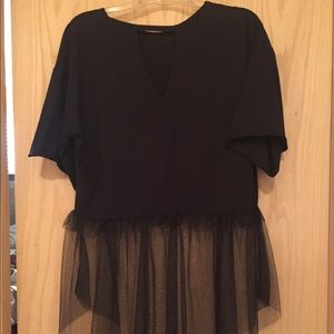 Tops - New w/o Tag Black Large Tulle Bottom Tunic